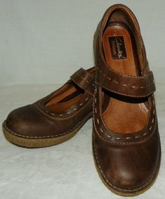 Clarks Artisan Active Brown Leather Mary Jane Wedge Sandals Shoes Womens Size 8M #Clarks #MaryJanes #Casual