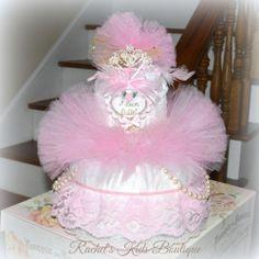 Only A Penny?  Ballerina Tutu DIAPER CAKE Baby Shower Centerpiece Pink Newborn Preemie Gift Inexpensive Gift Idea