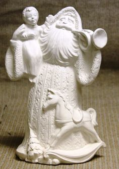Ceramic Bisque Antique Santa with Trumpet Gare Mold 2384 U-Paint Ready To Paint #Gare #Bisque