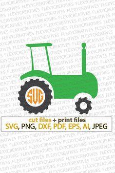 6d157e5b Farm Tractor monogram SVG Cut File, Tractor tshirt SVG, DXF for Cameo  Tractor Silhouette Cricut Desi