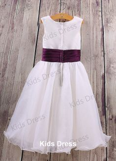 A-line Scoop Floor-length Organza Flower Girl Dress With Sash