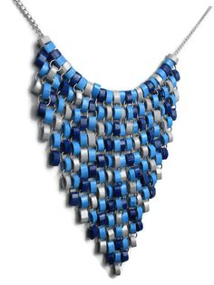 Blue and gray bib necklace - Statement necklace - Blue dangle necklace - Tapestry necklace - Paper quilling jewelry - Modern blue necklace Diamond Cross Necklaces, Diamond Solitaire Necklace, Paper Jewelry, Paper Beads, Jewelry Crafts, Paper Quilling Earrings, Blue Necklace, Art Plastique, Cute Jewelry