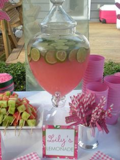 pink lemonade with limes- great for Lilly pink & green inspired party