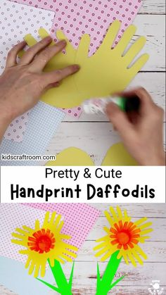 This pretty Handprint Daffodil craft for kids is so bright and cheery. It's a lovely flower craft for spring and Mother's Day. Handprint craft fun for everyone! #kidscraftroom #kidscrafts #springcrafts #daffodils #flowercrafts #handprintcrafts Kids Wedding Activities, Thanksgiving Activities For Kids, Craft Activities For Kids, Summer Crafts For Kids, Crafts For Kids To Make, Daffodil Craft, Easy Preschool Crafts, Mother's Day Diy, Mothers Day Crafts