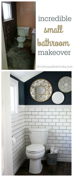 another pinner wrote: Woah! If this small bathroom can get such a great makeover, mine can too. Great ideas and inspiration for a small bathroom design. Classic subway tile, hale navy paint, and metallic accents. This bathroom makeover is incredible! Upstairs Bathrooms, Downstairs Bathroom, Bathroom Renos, Bathroom Ideas, Small Bathrooms, Bathroom Cabinets, Bathroom Vanities, Tiny Bathroom Makeovers, Wainscoting Bathroom