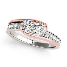 14k Two-tone Gold Round-cut Two-stone Diamond Ring (3/4 cttw, H-I, I1-I2)