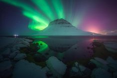 Different Perspective From Kirkjufell Mountain Exploding With Aurora Iceland [1920x1280][OC]