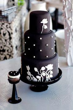 Three Tier Black Fondant With White Paste Flowers & Polka Dots Wedding Cake ❥