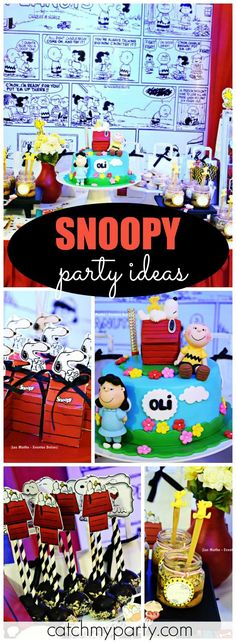How fun is this Snoopy Peanuts birthday party?! See more party ideas at Catchmyparty.com!