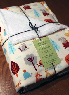 CADEAU SHOWER Festive Forest, Let's Celebrate Woodland Friends Baby Receiving Blanket, Stroller Blanket with Foxes, Deer, Squirrels