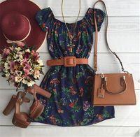Vestido de verão 2016 nova moda primavera vestidos praia vestido moda Casual manga curta O pescoço mini a linha das mulheres do vintage vestido