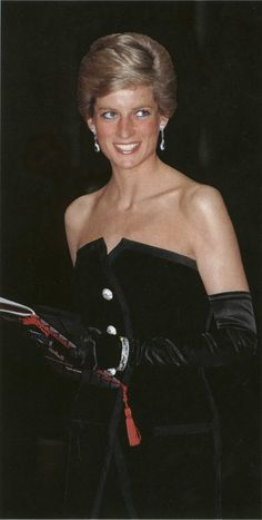 """March 5, 1989: Diana, Princess Of Wales, attending the film premiere at The Canon Cinema of """"Dangerous Liaisons"""" In aid of the Aids Crisis Trust Charity."""