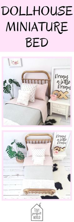 Miniature Bed, Love Pink Modern dollhouse bed, 1:12 scale modern bed, Incy Interiors Inspired miniature bed, modern miniature furniture | CLICK HERE to see more dollhouse furniture from Tiny Perfect World #dollhouse #dollshouse #dollshousefurniture #dollhousefurniture #moderndollhouse #dollhouseminiatures #dollhousebedroom #dollshousebed #moderndollshouse