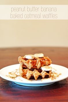 Cashew butter Banana Baked Oatmeal Waffles 2 tsp mashed banana 3 tbs rolled oats 1 tbs unsweetened shredded coconut  1 tbs cashew butter 2 tbs almond milk 2 tbs Greek yogurt Mix all and pour into a sprayed waffle iron bake until browned makes one large waffle