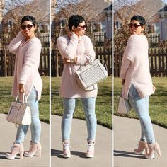 My Fuzzy Pink Sweater + Winter Pastels - Mimi G Style