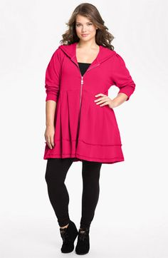 jacket for plus size apple shaped women - Pink Lotus Pleated Tunic Hoodie (Plus Size) | Nordstrom