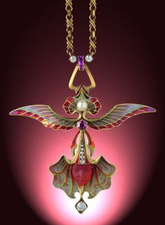 """Ailée Orchid"", an Art Nouveau gold, plique-à-jour and enamel, glass, ruby, diamond and pearl pendant necklace by Philippe Wolfers, Brussels circa 1902."