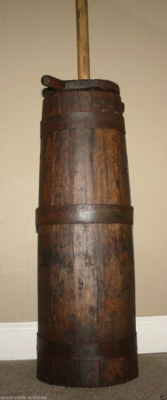 Antique Primitive Staved Wooden Butter Churn 19th Century Old Country Churner         eBay  sold   315.00