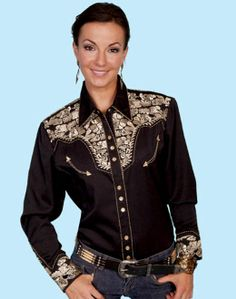 "❤ Cowgirls Fashion ""Golden Lady Gunfighter"" Womens black western shirt by Scully,"