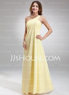 Bridesmaid Dresses - $99.99 - Empire One-Shoulder Floor-Length Chiffon Bridesmaid Dress With Ruffle (007025146) http://jjshouse.com/Empire-One-Shoulder-Floor-Length-Chiffon-Bridesmaid-Dress-With-Ruffle-007025146-g25146