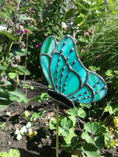 Lime And Aqua Stained Glass Butterfly With Wire Work And Decorative Solder Garden  Stake, Plant