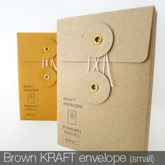 Description: Beautifully designed vertical KRAFT envelope with a string closure. This petite envelope is perfect to keep small and precious items or use it as a gift package! You can also place these Envelope Kraft, Envelope Design, Kraft Envelopes, Paper Envelopes, Paper Packaging, Pretty Packaging, Packaging Design, Gift Packaging, Packaging Ideas
