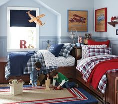 Pottery Barn Kids' shared bedroom ideas help you design a room for both a boy and girl. Find creative shared room ideas that kids will love. Shared Boys Rooms, Shared Bedrooms, Boy Bedrooms, Bed Sets, Pottery Barn Kids, Corner Twin Beds, Boys Bedroom Decor, Childrens Bedroom, Car Bedroom