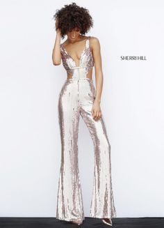 Sherri Hill 51350 Sequin Cutout Fitted Jumpsuit