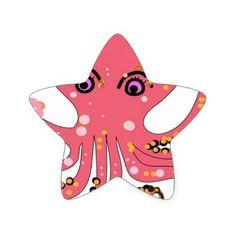 #flower - #octopus pink flower art star sticker