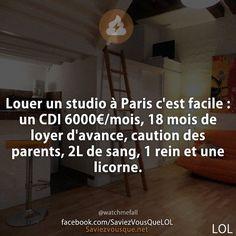 Louer un studio à Paris c'est facile : un CDI 6000€/mois, 18 mois de loyer d'avance, caution des parents, 2L de sang, 1 rein et une licorne.   Saviez-vous que ?