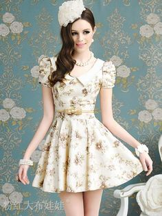 Summer Vogue Natural Waist Floral Print Puff Sleeve