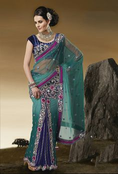 USD 108.87 Green A Line Embroidered Designer Lehenga Saree 31287