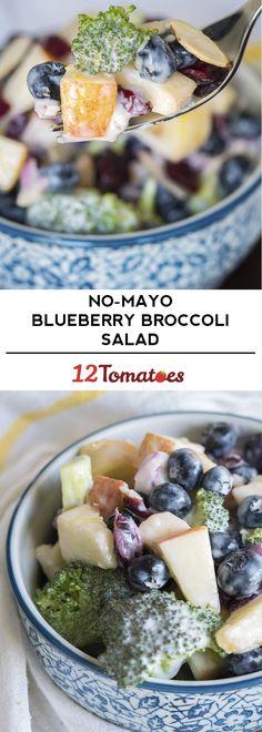 Healthy, delicious, no-mayo broccoli blueberry salad!
