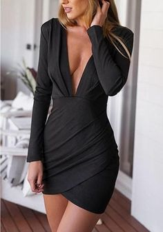 Make a good impression with this ruched wrap-style dress. Cut and plunging V neckline of this slightly stretchable, unlined ruched dress gives it a vampy feel. This means it's the perfect dress for a Tight Dresses, Sexy Dresses, Cute Dresses, Short Dresses, Party Dresses, Dress Party, Prom Gowns, Dresses Dresses, Formal Gowns