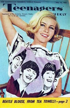 Model wearing a Beatles blouse made from a tea towel, Teenagers' Weekly, 1964 Les Beatles, Beatles Art, 1960s Fashion, Vintage Fashion, Sporty Fashion, Mod Fashion, Fashion Women, The Fab Four, Cinema