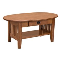 """Beautiful and sturdy, this 42"""" Oval One-Drawer Coffee Table is handcrafted in the United States. As shown, it is made out of Quarter Sawn White Oak wood in the OCS 113 stain. In addition, it features a drawer that rests on full-extension side mount ball bearings that easily and gently glide open and shut. This unit also has plenty of matching pieces from end tables to our Amish Made Sofa Sets.   Let us know what other pieces that you might be interested in so that we can happily recommend…"""