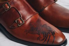 Sweeney Tattoo on Double Monk Straps. Shoes with custom one-of-a-kind tattoos.