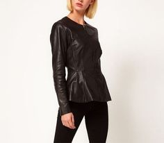 Black Victorian Style Slim PU Leather Zipper Coat