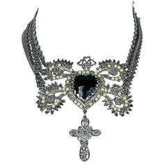 Preowned Christian Lacroix Vintage Ex Voto Sacred Heart Necklace ($812) ❤ liked on Polyvore featuring jewelry, necklaces, black, chain necklaces, cross pendant necklace, vintage necklaces, pearl necklace, heart charm necklace and heart charm