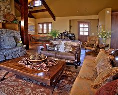 Park City home with rustic furniture and rustic luxury influence