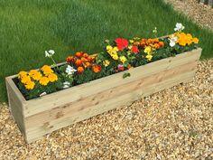 White Wooden Garden Trough Planter Veg Bed Flower Plant Pots In Decking Boards | eBay