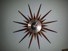 ELGIN STARBURST CLOCK sun burst brass and teak by TrippedOutAtomic
