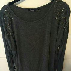 Studded long sleeve shirt. So comfortable  Perfect condition   its so cute! :) size L all stones are on :) purchased from Macys! Macy's Tops