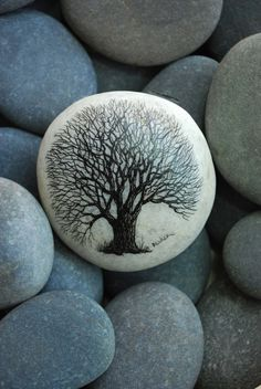 hand painted beach stone
