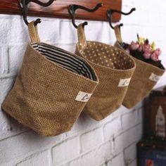 Double face respectueux de l'environnement jute tissus tenture sacs de rangement de bureau petits paniers