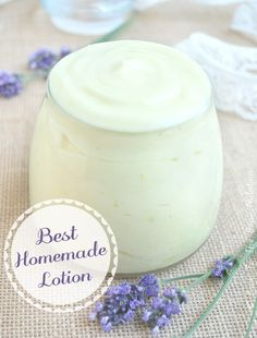 Homemade lavender lotion (try adding aloe to make it squeezable)