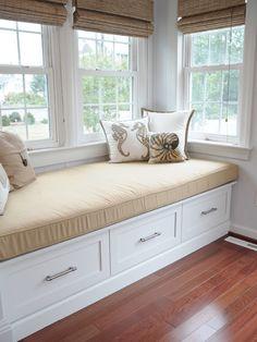 Sun room - want window seat with storage!