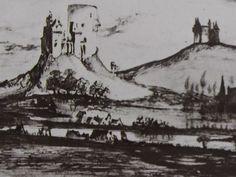 """Ce détail d'un dessin de Victor Hugo représente des champs au bord d'une rivière et aux pieds de deux collines sur lesquelles sont juchés des châteaux - Lié au poème """"La vie aux champs"""" du recueil """"Les Contemplations"""" (""""Aurore"""") de ce même Victor Hugo."""
