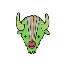 Soft Enamel Bison Pin Enamel Green Buffalo Pin by marmarsuperstar
