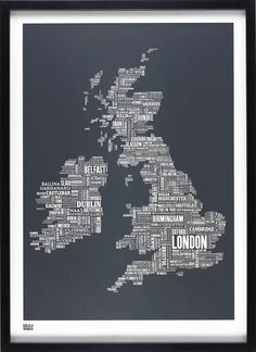 Yes please BOLD AND NOBLE BRITISH ISLES (UK) TYPE MAP SLATE   Dennis and McGregor